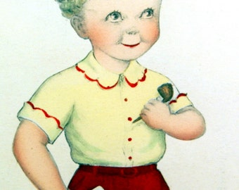 Adorable Vintage 1930s-1940s Blond Boy Child Print, Color Picture, Prof Framed, Like Daddy, Cute Puppy