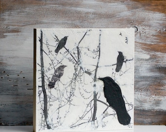 "BLACKBIRDS Original Encaustic Bird in Tree Painting Black & White 14""x 14"""