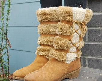 Vintage Furry Suede Lace Up Winter Boots