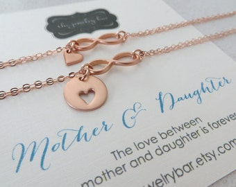 Rose gold Mother daughter jewelry, infiniy bracelet set, heart cutout charm, mother daughter bracelets, Christmas gift for women