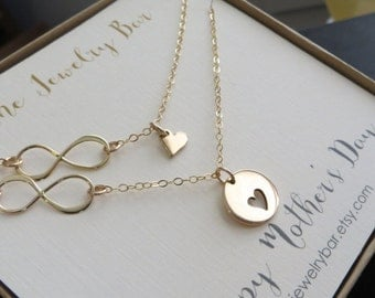 Gift for mom from daughter, mother daughter infinity necklace, heart necklace for mother from daughter, happy mothers day card