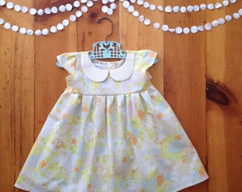 One year old girl birthday outfit 12 months first birthday dress 12m 12 m little girl valentine dress baby girl dress kids Peter Pan collar