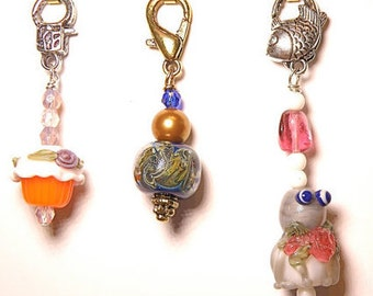 Choice of Zipper Pull with Lampwork Glass Bead
