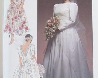 Jessica McClintock Wedding Dress Sewing Pattern, 90's Simplicity 9674 Formal Bridal Fashion Gown Bridesmaid Dress, Plus Size 18W - 24W UNCUT