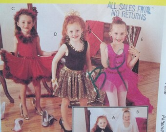 Girl's Variety of Costumes McCall's 7848  Bride, Ballerina, Dancer,Wand, Cape, Veil, Bodysuit, Skirt  Easy to Sew Size 3 - 4 UNCUT