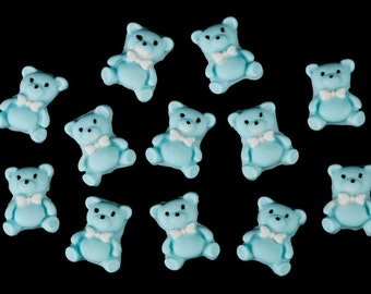 Edible Bear Toppers, Edible Teddy Bear Cupcake Toppers, Teddy Cupcake Toppers, Fondant Teddy Bear Cupcake Toppers Baby Shower