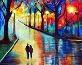 """Couple Art Print Couples Wall Decor Home Decor Boyfriend Girlfriend Gift Love Art Romantic Art Print  """"Evening Walk"""" Leslie Allen Fine Art"""