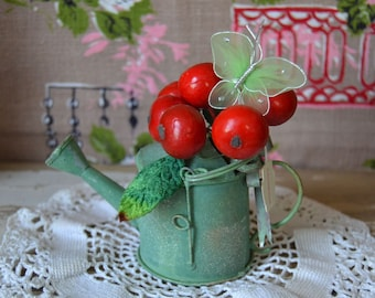 Vintage Tin Watering Can with Cherries Velvet Leaves and Butterfly