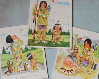 3 Vintage Playskool Native American Indian Frame Tray Puzzles Golden Press