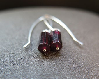 garnet earrings. red stone jewelry. silver dangle earings.