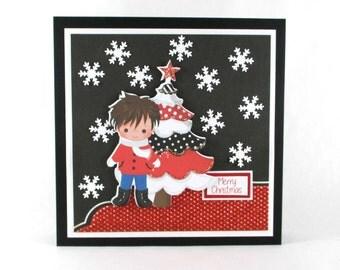 Christmas cards for boys, Holiday cards, handmade Christmas card, Boy's Christmas card, personalized cards, modern Christmas card
