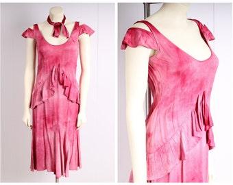 antique 1920s dress pink silk flapper vintage 1930s flutter ruffle tiered skirt evening gown size small flapper wedding art deco party