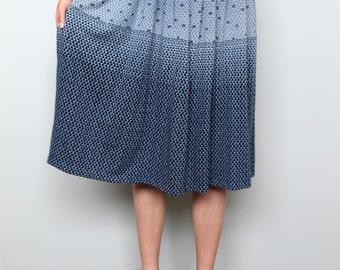 never seen blue -- vintage gradient print 80s skirt M/L