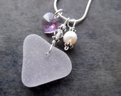 Heart Sea Glass Purple Necklace Lavender Beach Jewelry Pendant Sterling