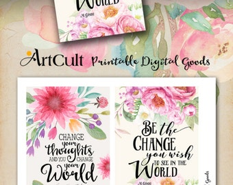 """Printable MOTIVATIONAL GREETING CARDS No.3 digital download 3.5""""x5"""" size images hand-painted flowers typography art for decoration and craft"""