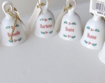 3 Porcelain Bell Christmas Ornament PERSONALIZED Family Kids Names Vintage Ganz