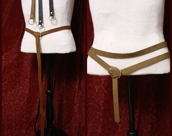 Long Leather Ring Belt -double wrap belt, Medieval costume, caramel brown, black, for Burning man, SCA Garb, LARP, renfaire, pirate