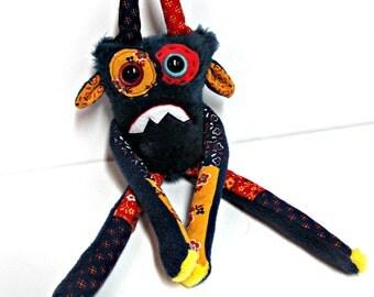 Nervous Monster Plush - Handmade Plush Monster - Navy Blue Faux Fur Monster - OOAK Monster Doll - Hand Embroidered Monster Toy - Weird Plush