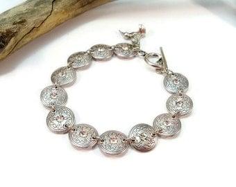 Silver and Rhinestone Bracelet, Silver Link Bracelet, Rhinestone Bracelet