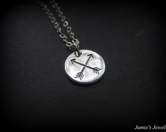 Sterling Silver Arrow Necklace - Double Arrow Friendship Necklace - Archery Necklace -Sterling Silver Everyday Necklace - Arrow Disc