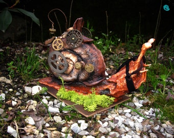 MADE TO ORDER Polymer Clay Running Steampunk Snail sculpture