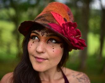 Felt Woodland Fairy Autumn Leaf Flower Seamless Pixie Fedora Hat OOAK