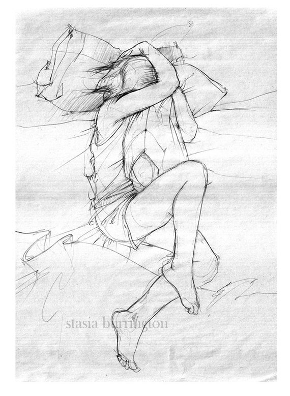 8x10 - The Science of Missing You - fine art print - delicate gray drawing of a girl and her pillow