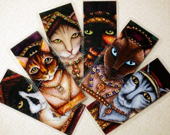 Tudor Cat Bookmarks, Set of Six Wives of King Henry VIII as Cats