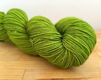 Beetle Wings - Walker - merino nylon sock yarn acid lime beetle green tonal semi-solid acid