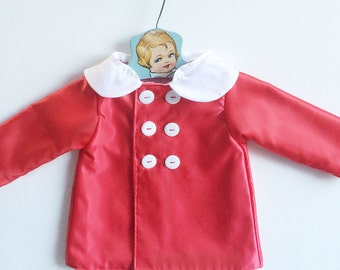 Baby Girl Raincoat | Toddler Rainjacket with Peter Pan Collar | Girls Waterproof Coat | Rainwear