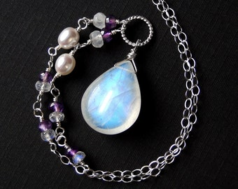 Moonstone Necklace, Amethyst, Pearl, Sterling Silver - Purple Moonlight by CircesHouse on Etsy
