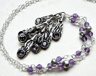 Amethyst Necklace, Sterling Silver - Purple Rain by CircesHouse on Etsy