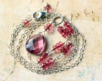 Pink Quartz Necklace on Sterling Silver - Rose Petal by CircesHouse on Etsy