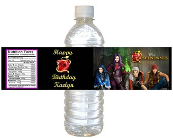 Personalized Disney Descendants Water Bottle Labels - Digital File
