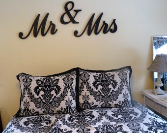 Mr & Mrs Bedroom Wall Signs - Mr and Mrs Wedding Decor Signs - Painted Wood - Dimensional Wall Art - Newlywed Gift - Master Bedroom Decor