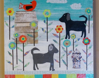 Original Mixed Media,Rusted Metal, Dog, Bird, 16 x 16 Colorful Folk Art