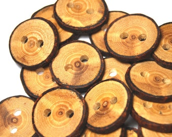 Natural Wooden Buttons, Rustic Branch Wood Buttons, Handmade Ash Tree Branch Wood Buttons, 1 Inch (25 mm), Set of 24