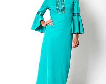 The Vintage Hippie Teal Green Turquoise Flare Sleeve Dress