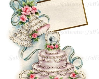 Vintage Wedding Cake PNG and JPG Digital Download vintage card transfer 1950s bride groom roses bridal invitation reception love