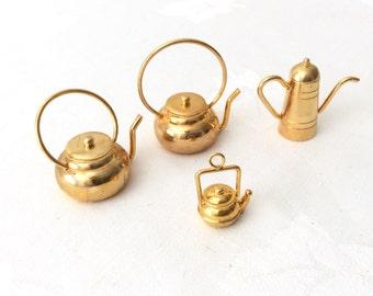 Vintage Miniature Brass Tea Pots Coffee Pot