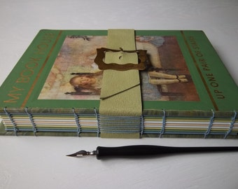 Upcycled Sketchbook, large art journal, vintage children's book with multimedia papers, leather strap & vintage buckle