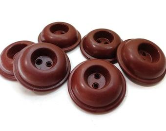 6 Large Russet Vintage Coat Buttons