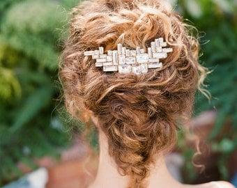 "Asymmetric crystal geometric art deco wedding hair comb ""Lorelei"""