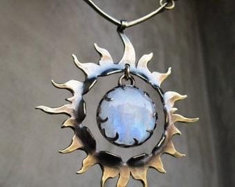 Sun Talisman with Rainbow Moonstone, Solar Plexus Chakra, Cosmic Light, Spiritual Healing,New Beginnings, Intuition, Handmade, Metalsmithed
