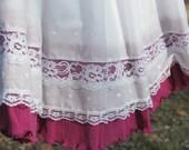 Girls' White and Fuchsia Skirt, Eyelet Dirndl, REVERSIBLE SKIRT! Size 3 to 7*