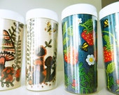 Vintage Thermo Serve Drinking Glasses / Set of 4 Retro Embroidery Tumblers / Vintage Kitchen