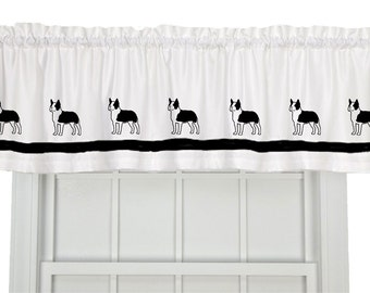 Boston Terrier Dog Window Valance Curtain - Your Choice of Colors