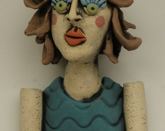 Breast Cancer Survivor, Wall Hanging, HANDMADE Female Art, Hanging Woman, Figurative Art, Clay Wall Hanging, Hanging Art Doll