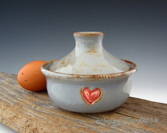 Pottery Egg Cooker in Rustic Blue - Microwave Egg Cooker - Egg Sandwich Maker - by DirtKicker Pottery