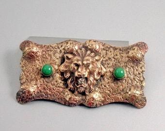 Victorian Early 1900-1910 Sash Ornament, Brooch, Lions Head Motif, Green Glass, C Clasp